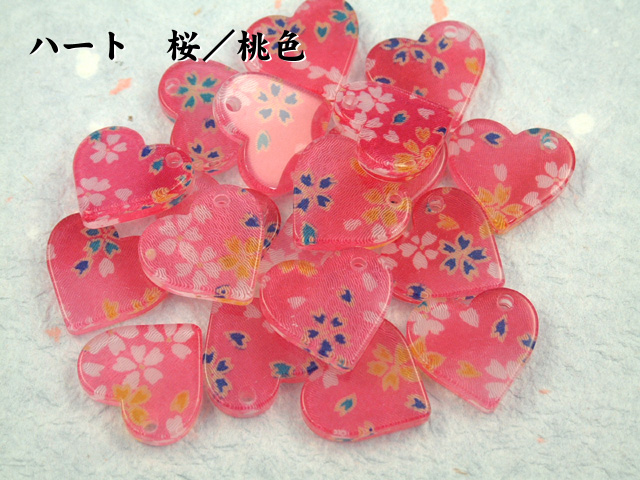 和柄アクリル 携帯ストラップ(ハート型)桜/桃色