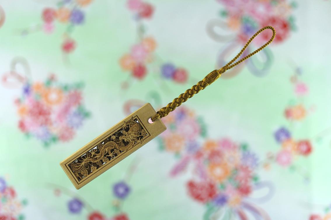 【昇り龍】御蔵島黄楊 家紋 千社札 携帯ストラップ Lサイズ 正絹根付紐金茶
