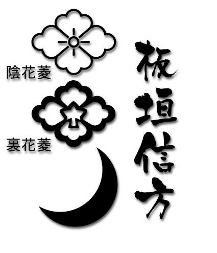板垣 信方 家紋 旗印 馬標 裏花菱